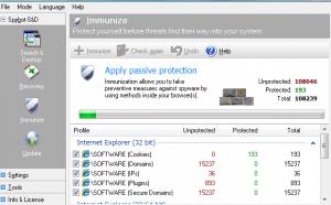 Spybot Immunize Settings