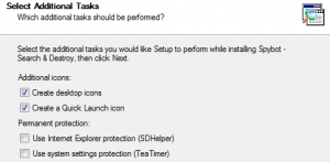 Spybot Option settings in the installation